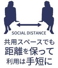 共有スペース等でも距離を保って、利用は手短に